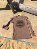 Sunset Bass Linocut Block Print Design On Brown Long sleeve T-shirt