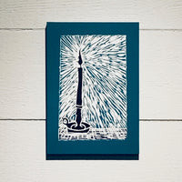 Candlelight (Mounted Linoleum Block Print)