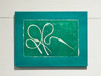 Garlic Scape (Mounted Linoleum Block Print)