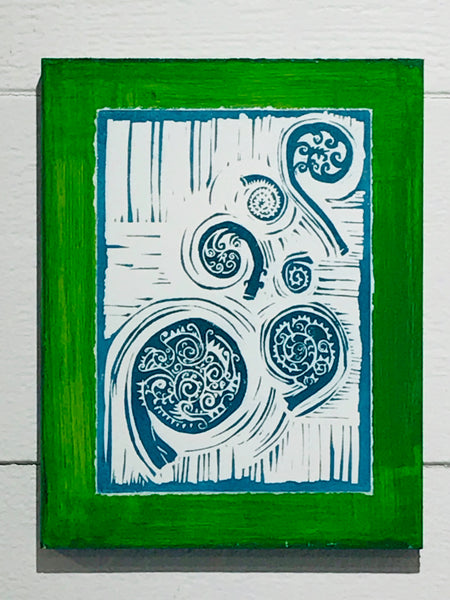 Fiddleheads (Mounted Linoleum Block Print)