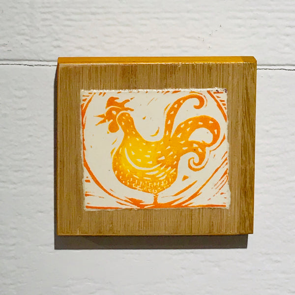 Lil Chicken (Mounted Linoleum Block Print)