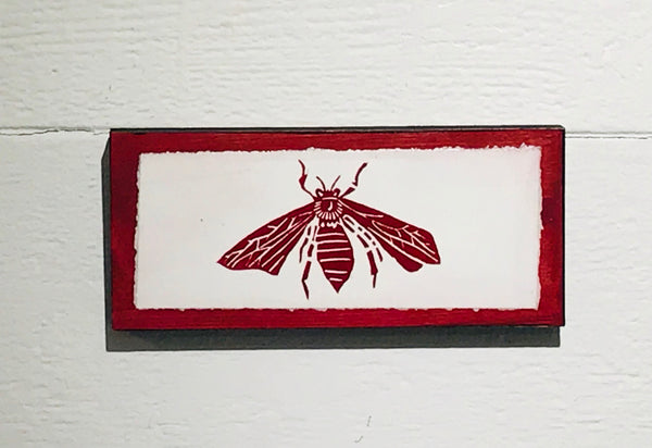 Bee (Mounted Linoleum Block Print)