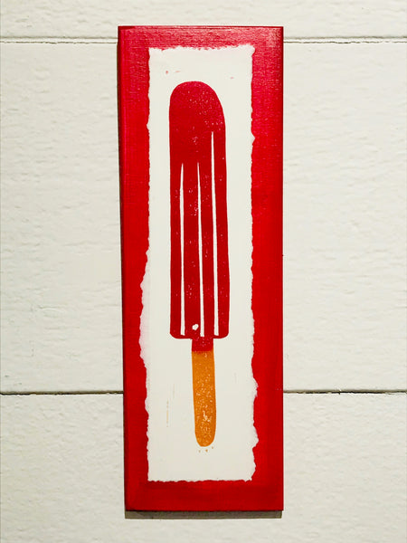Red Popsicle (Mounted Linoleum Block Print)