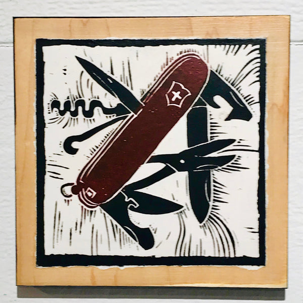 Swiss Army Knife (Mounted Linoleum Block Print)