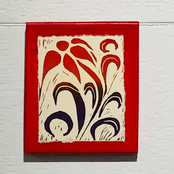 Flower (Mounted Linoleum Block Print)