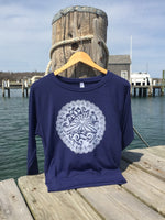 Martha's Vineyard Island With Scallop Shells Tri Blend Pull Over Linocut Block Print Design