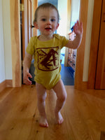 Block Printed Swiss Army Knife Design on an Organic Baby One Piece