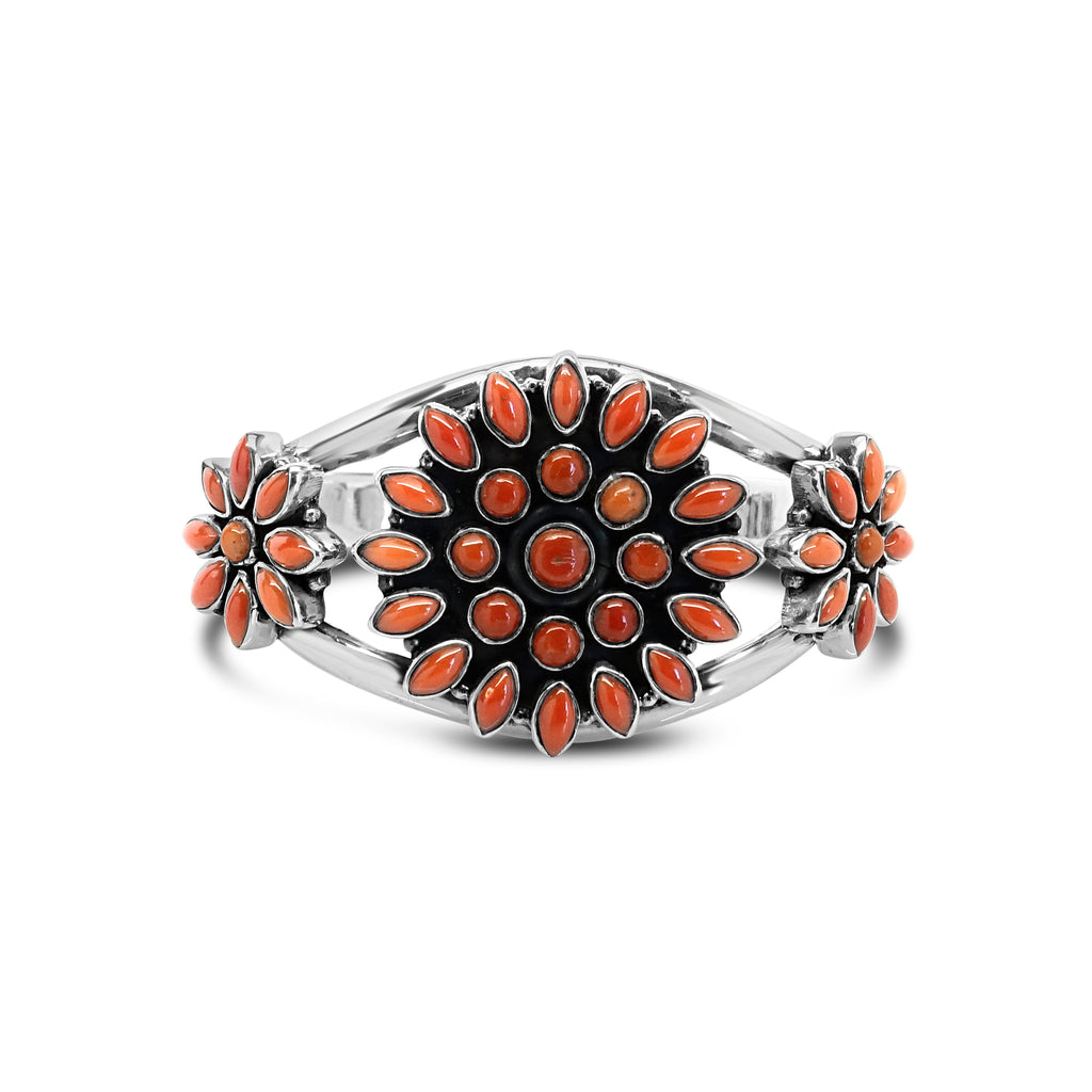 """South Western Autumn"" Orange Coral Cuff Bracelet"