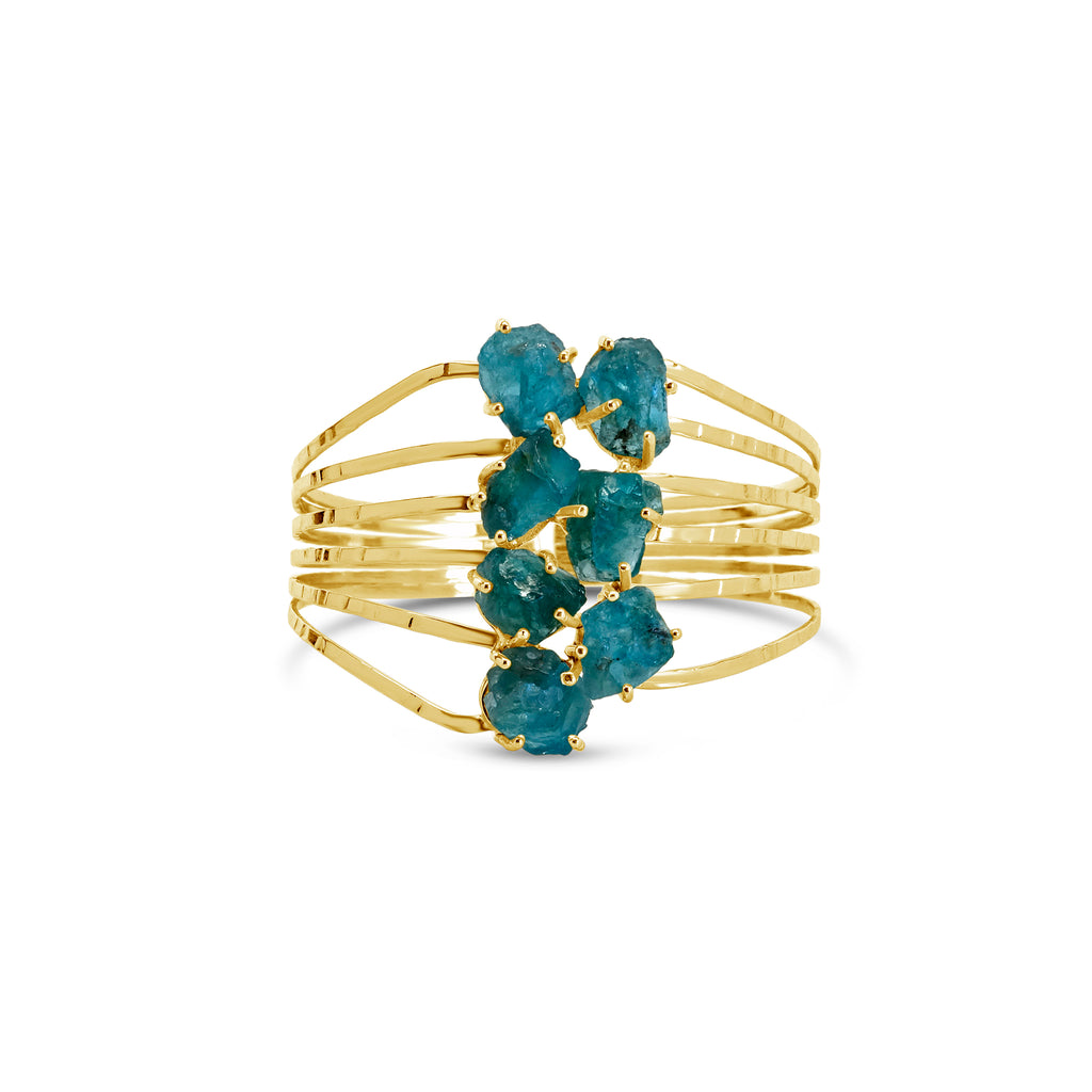 """Sea Glass"" Apatite Cuff Bracelet"