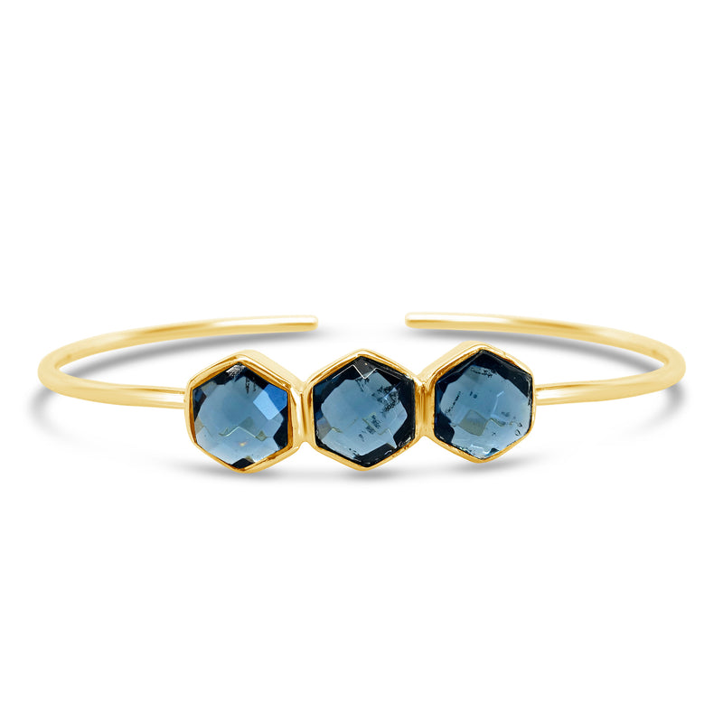 """Blueberry Honey"" Blue Quartz Cuff Bracelet"