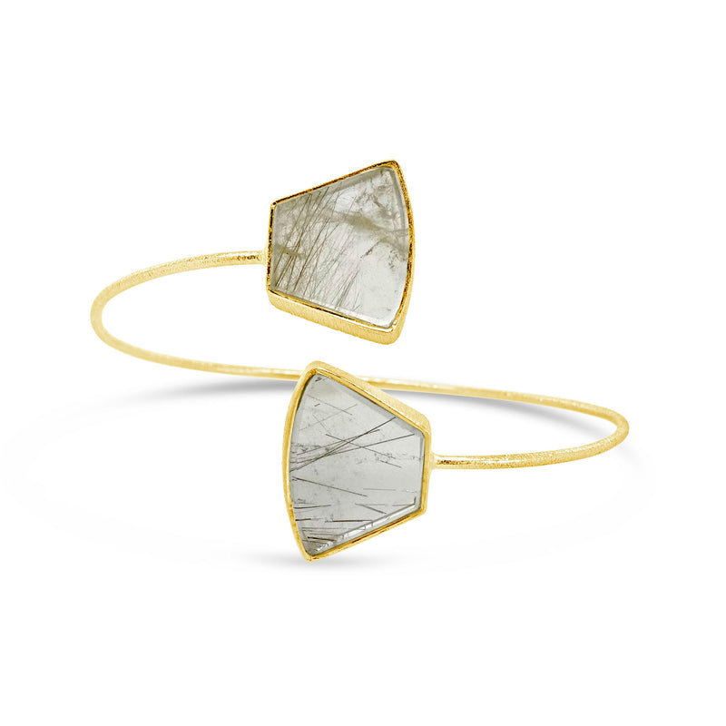 """Speed of Light"" Golden Rutile Wraparound Cuff Bracelet"