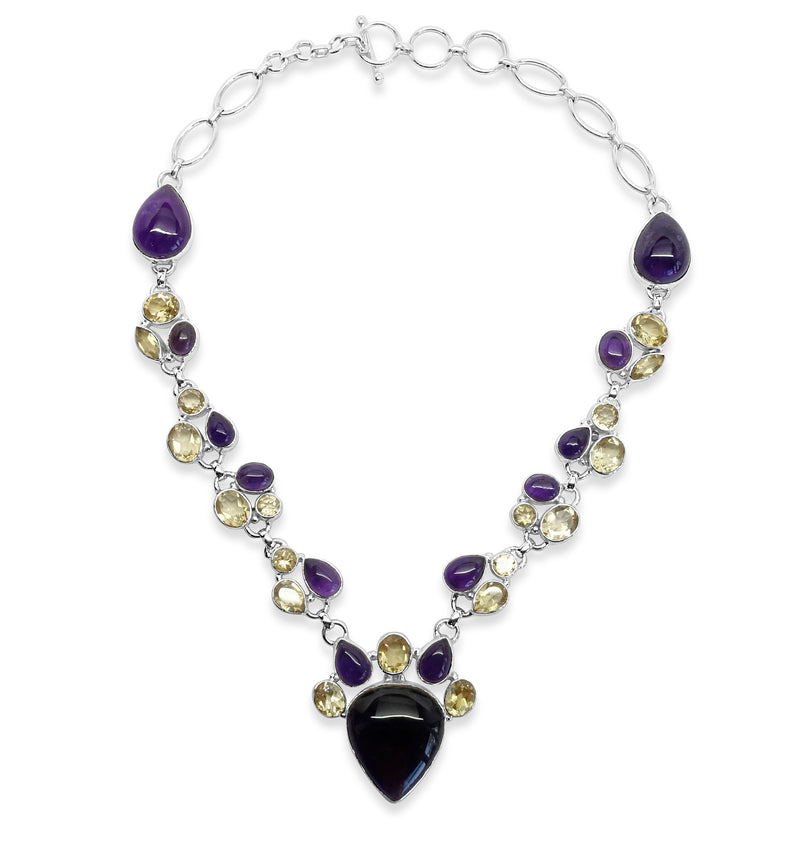 """Vineyard"" Amethyst and Citrine Bib Necklace"