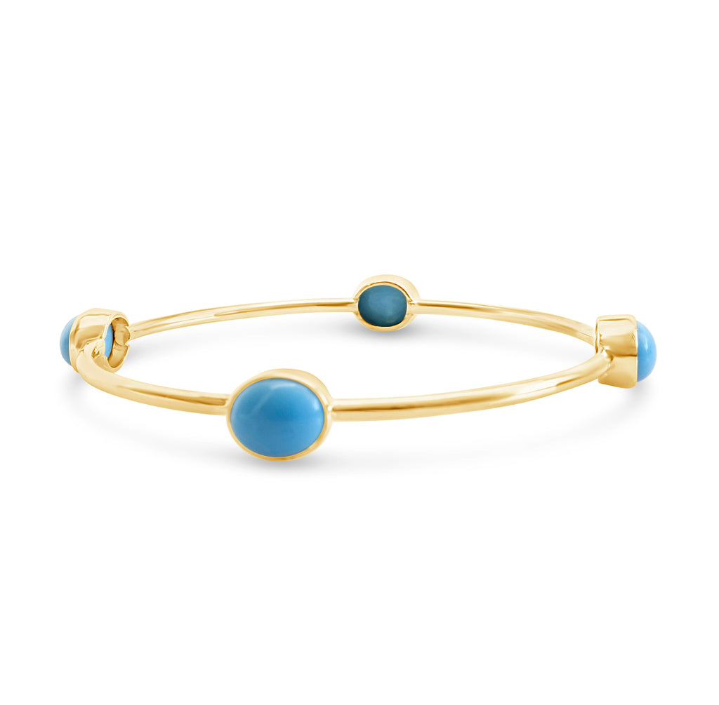 """Sky"" Turquoise Gold Bangle Bracelet"