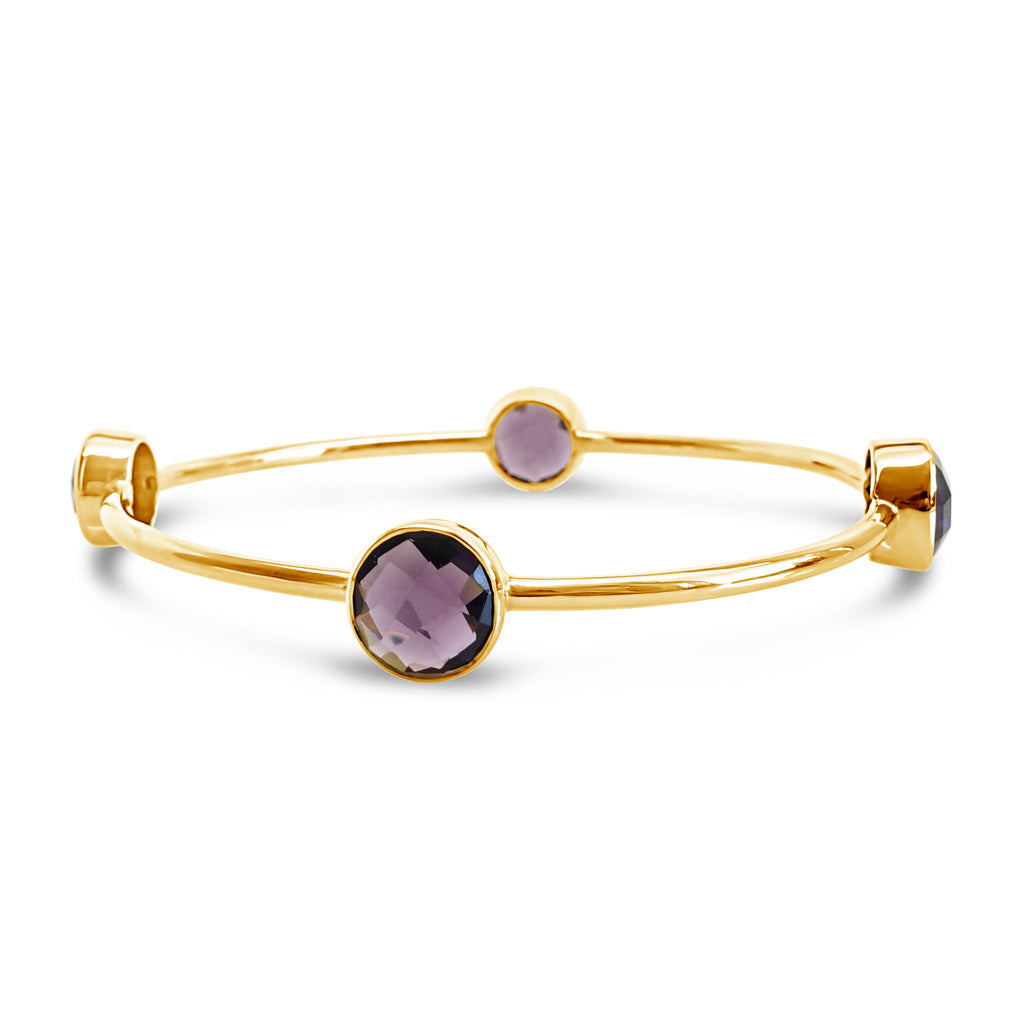 """Joyful"" Purple or Green Amethyst Bangle Bracelet"