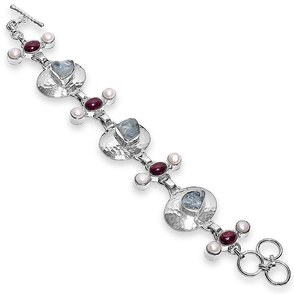 """East Meets West"" Aquamarine, Pearl & Garnet Bracelet"