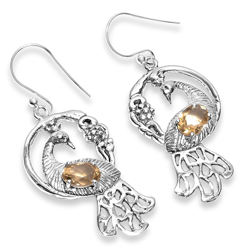 """Peacock"" Citrine Dangle Earrings"