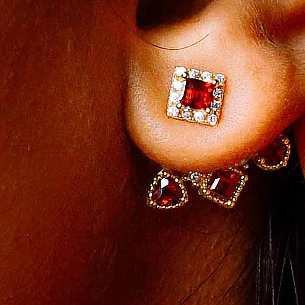 """Gurgaon"" Garnet Earrings 