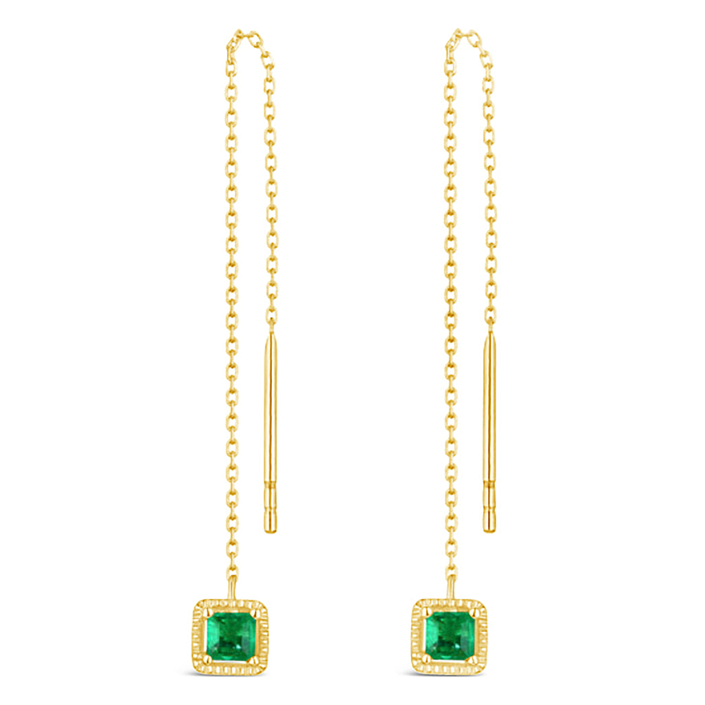 """Green with Compassion"" Emerald Dangle Earrings"
