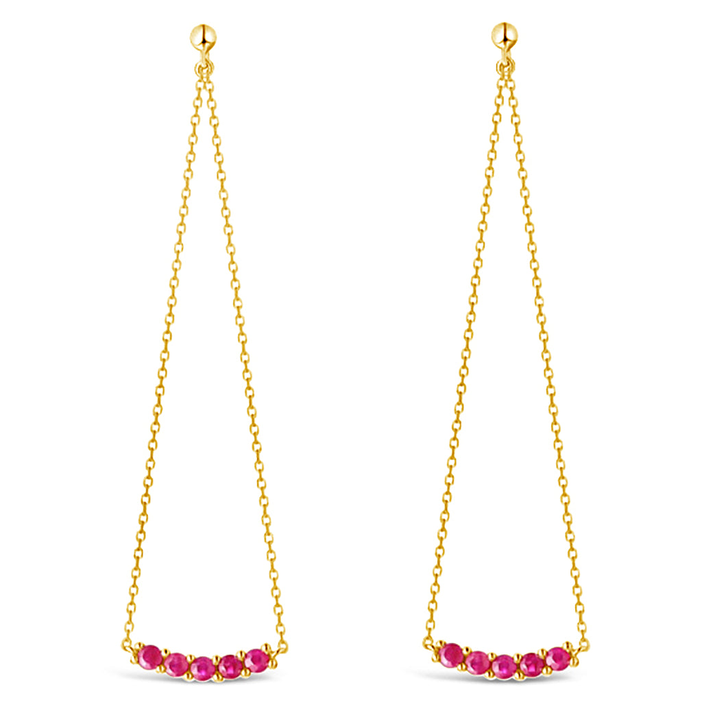 """Pendulum"" Ruby Dangle Earrings"
