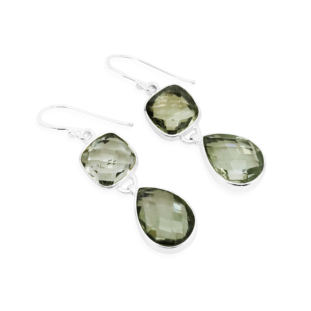 """Clarity"" Green Amethyst Dangle Earrings"