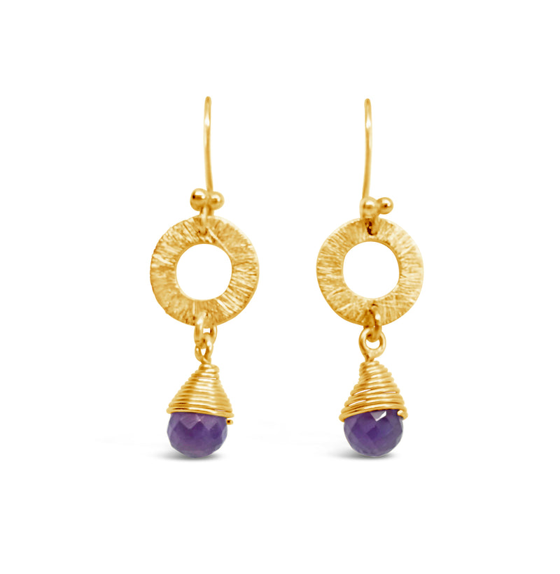"""Tayla"" Amethyst and Gold Wire Dangle Earrings"