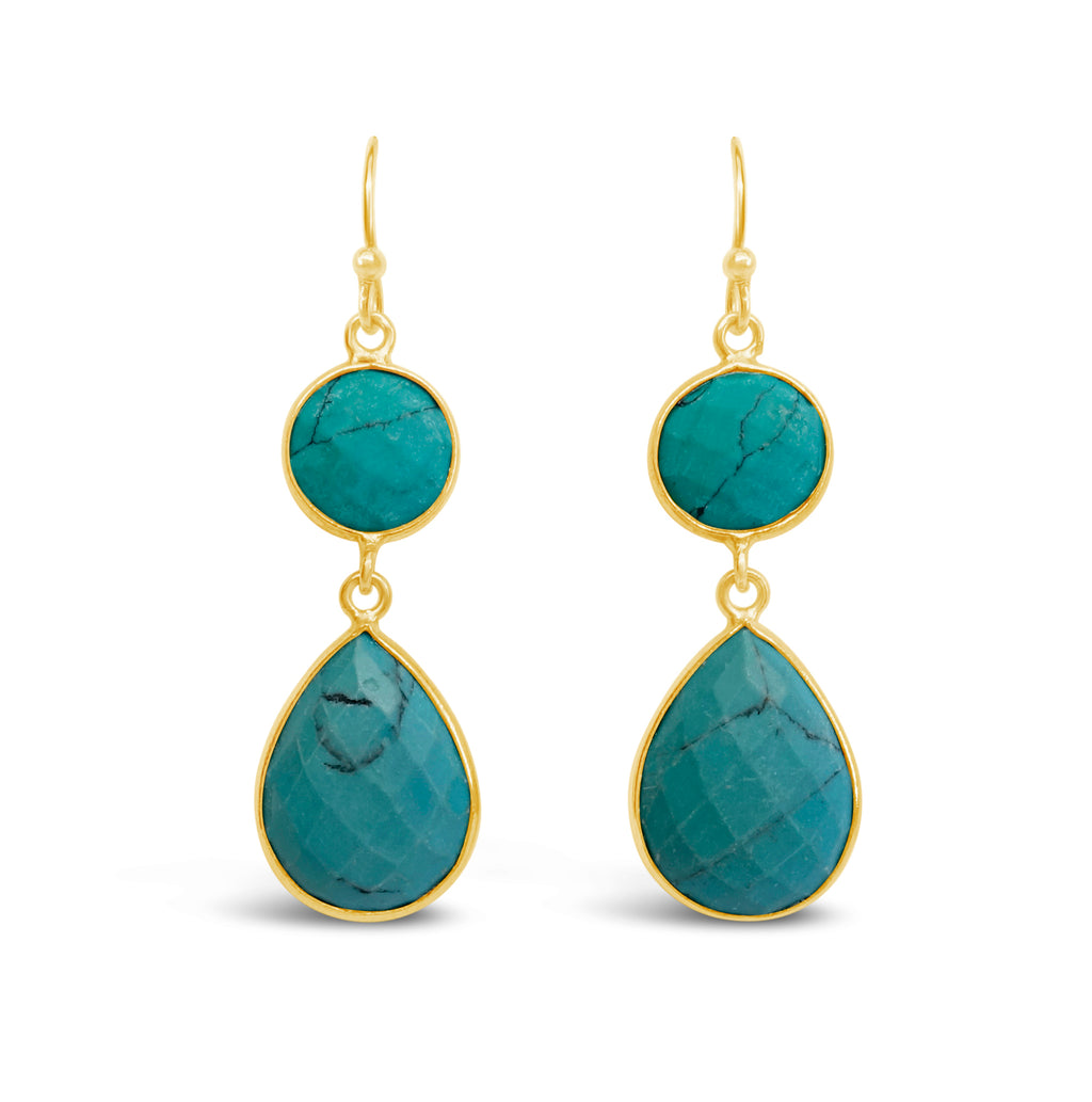 """Pop"" Turquoise Dangle Earrings"