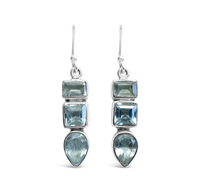 """Mayan Blue"" Labradorite and Silver Dangle Earrings"