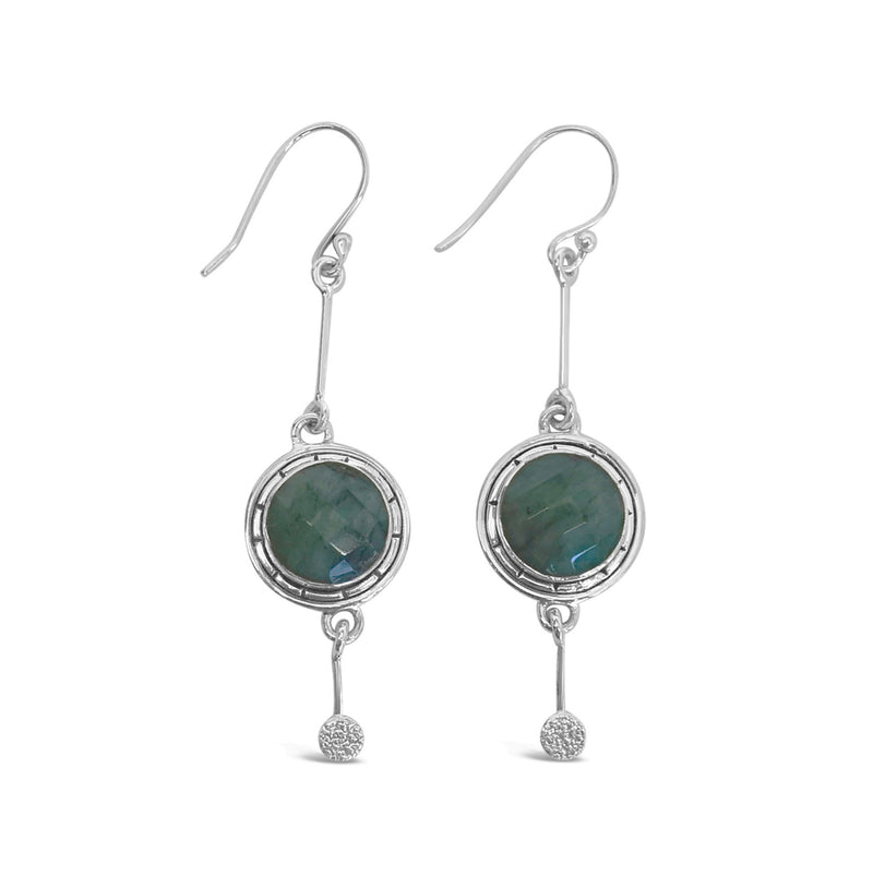 """Mist"" Blue Labradorite Gold Dangle Earrings"