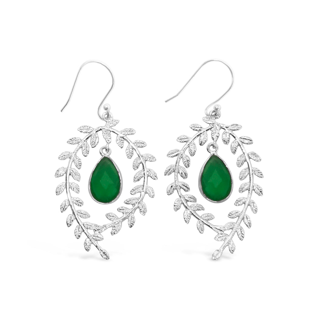 """Wreath"" Green Onyx Dangle Earrings"