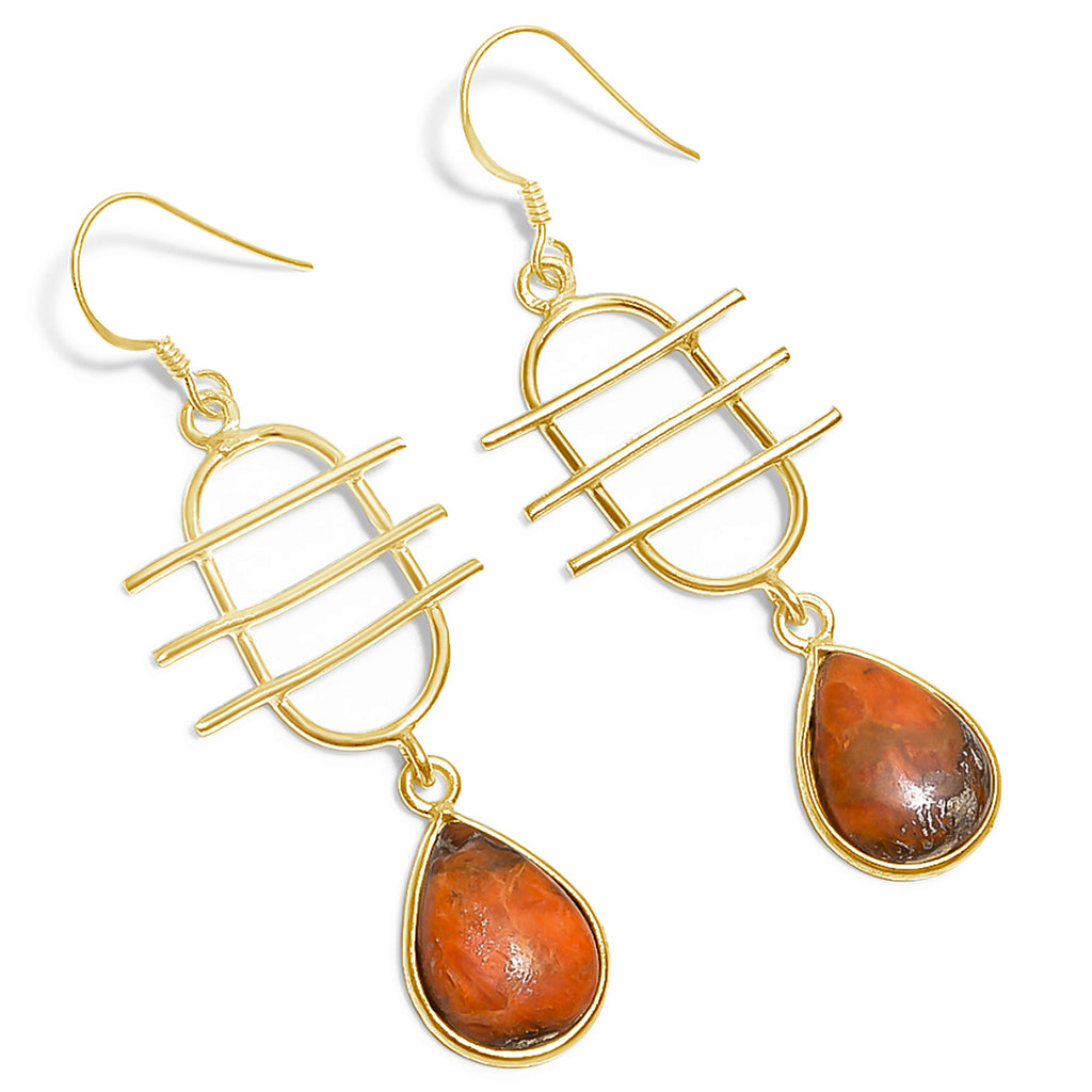 """Creativity"" Orange Copper Turquoise Earrings"