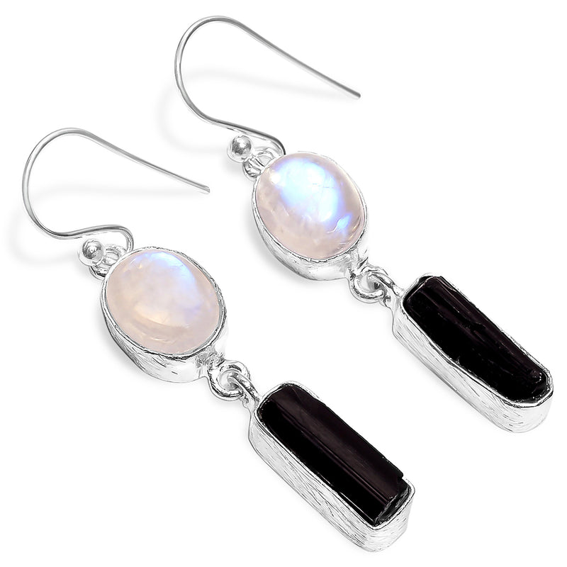"""Day and Night"" Moonstone & Black Tourmaline Earrings"