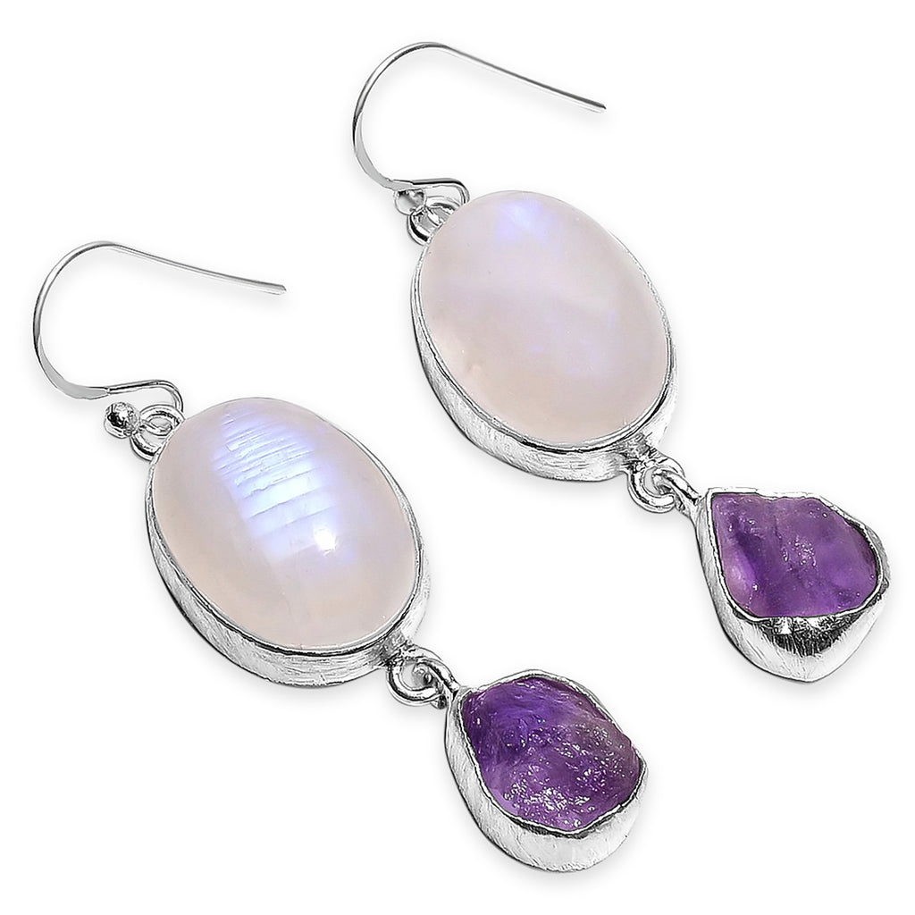 """Starry Night"" Moonstone & Amethyst Dangle Earrings"