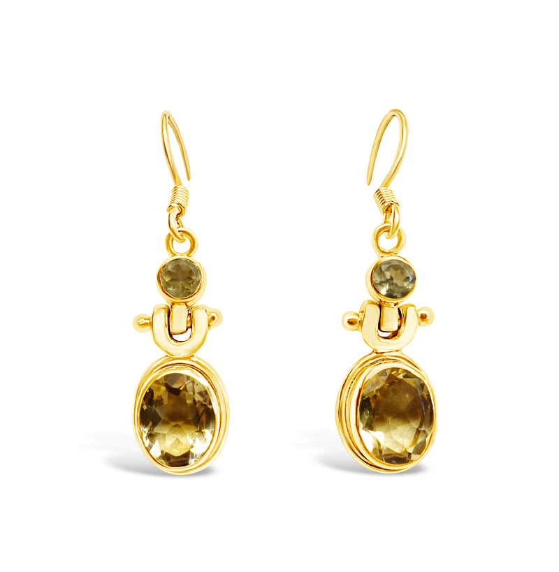 """Honey Drops"" Citrine Dangle Earrings (Gold)"