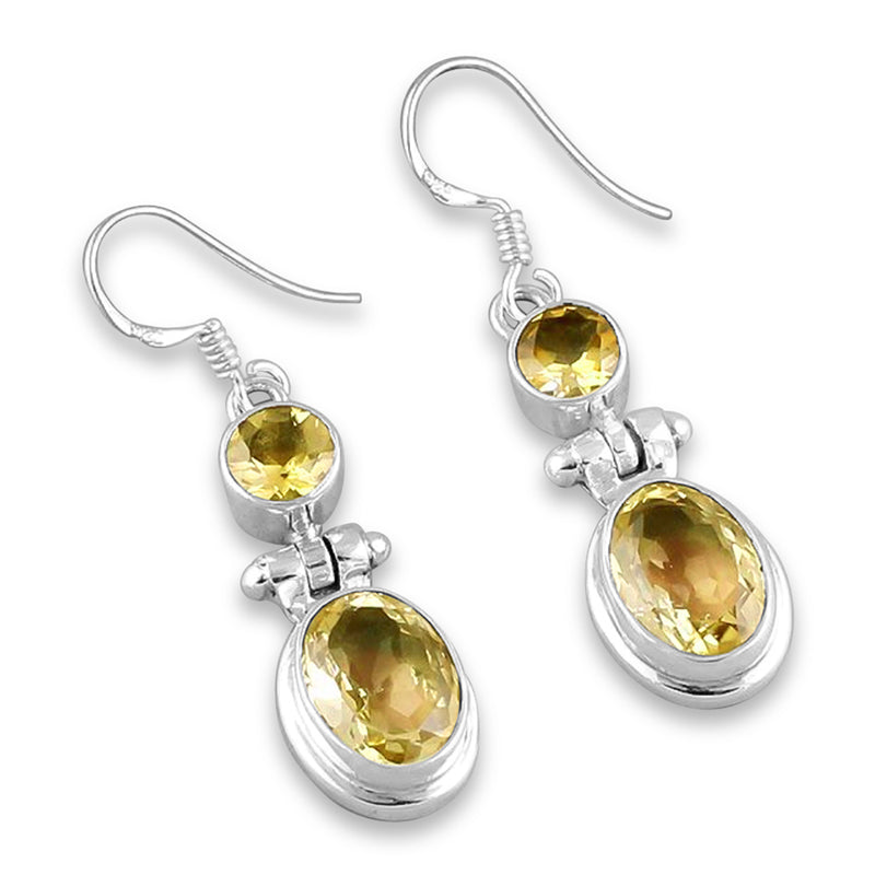 """Honey Drops"" Citrine Dangle Earrings (Silver)"