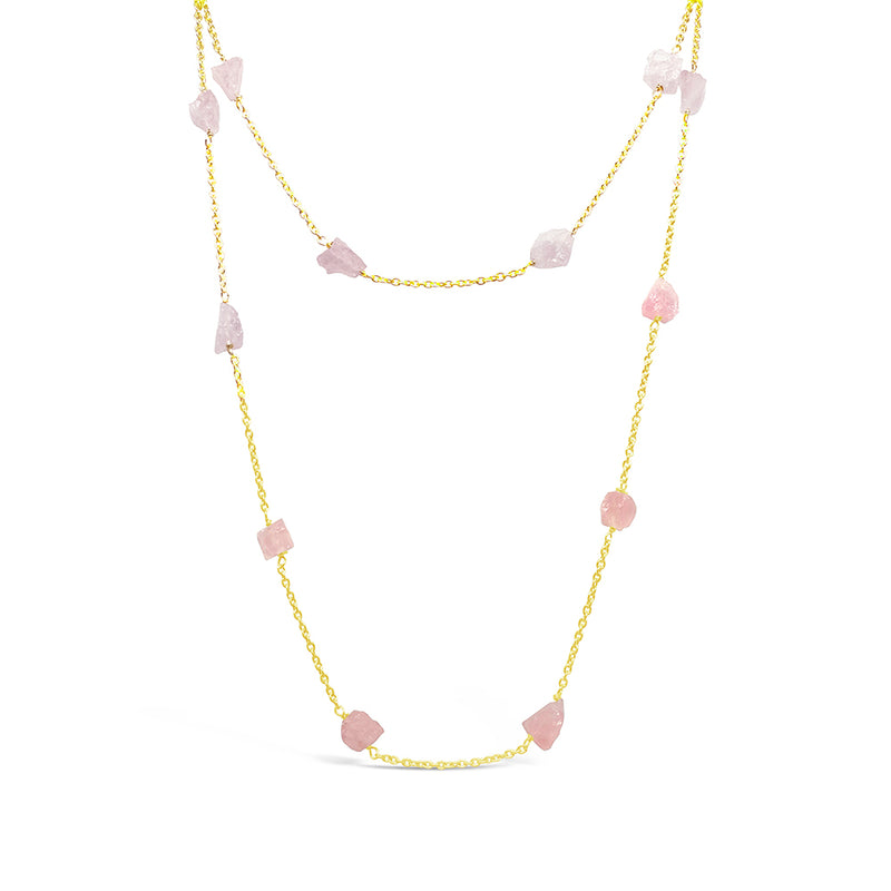 """Lady"" Rose Quartz Long Chain Necklace"