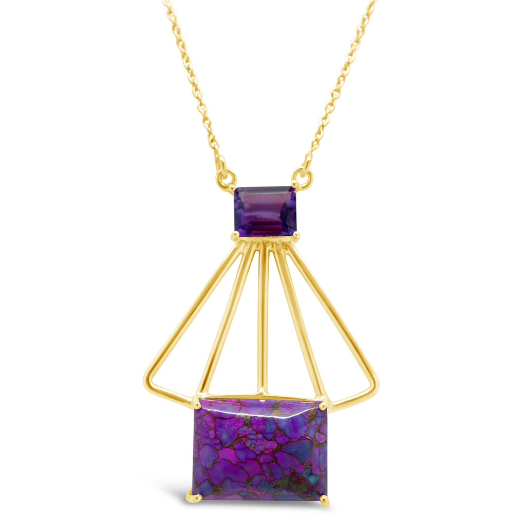 """Prism"" Amethyst & Purple Copper Turquoise Geometric Pendant Necklace"