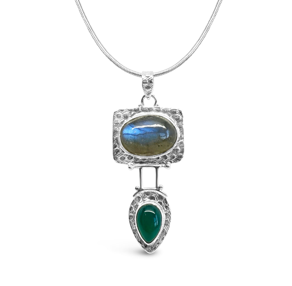 """Jupiter"" Labradorite and Green Onyx Pendant Necklace"