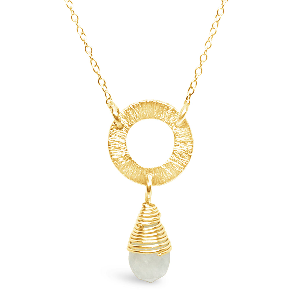 """Snow"" Moonstone and Gold Wire Pendant Necklace"