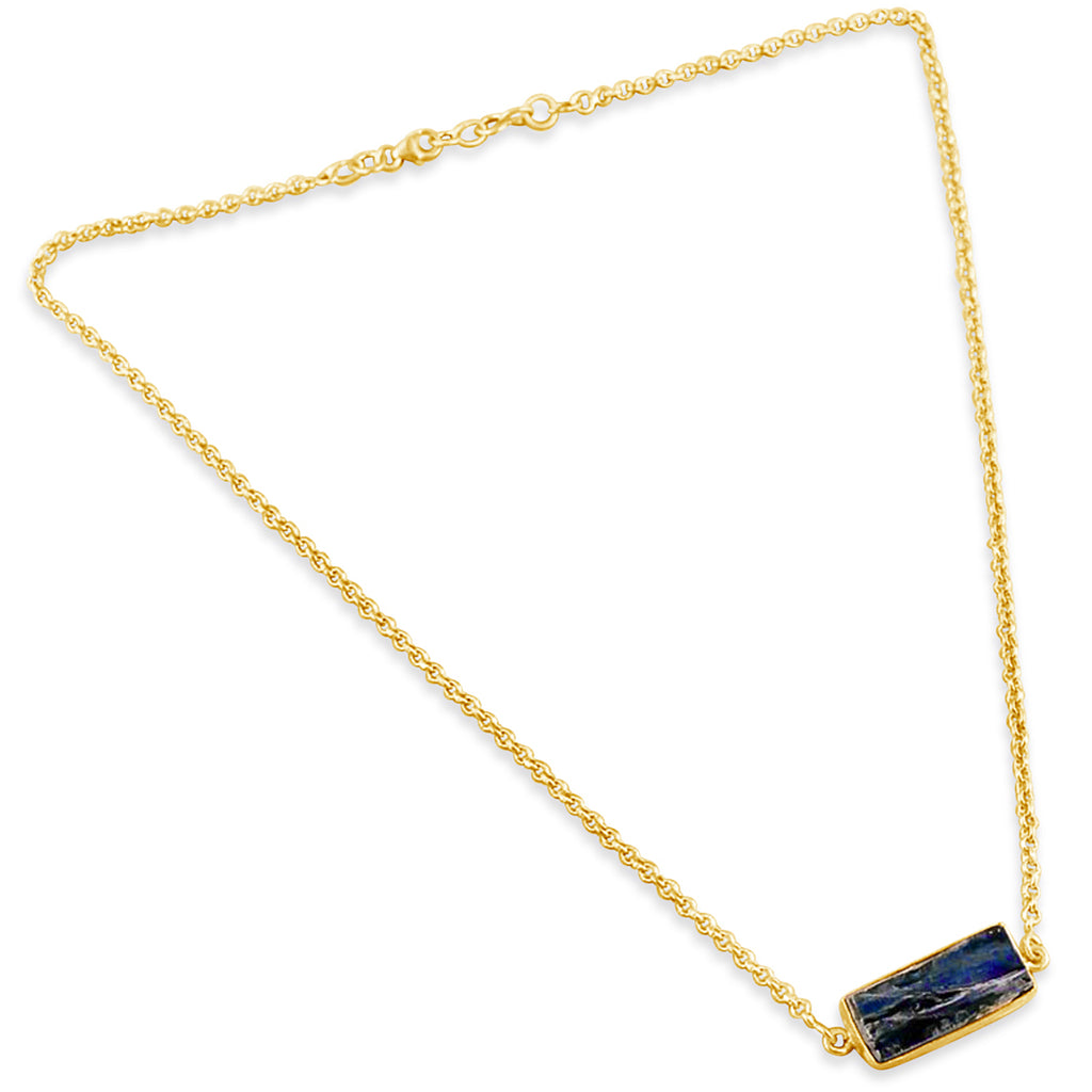 """Straight Forward"" Blue Kyanite Bar Necklace"