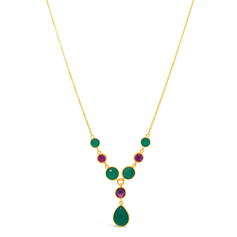 """Grapes"" Amethyst & Green Onyx Dangle Necklace"