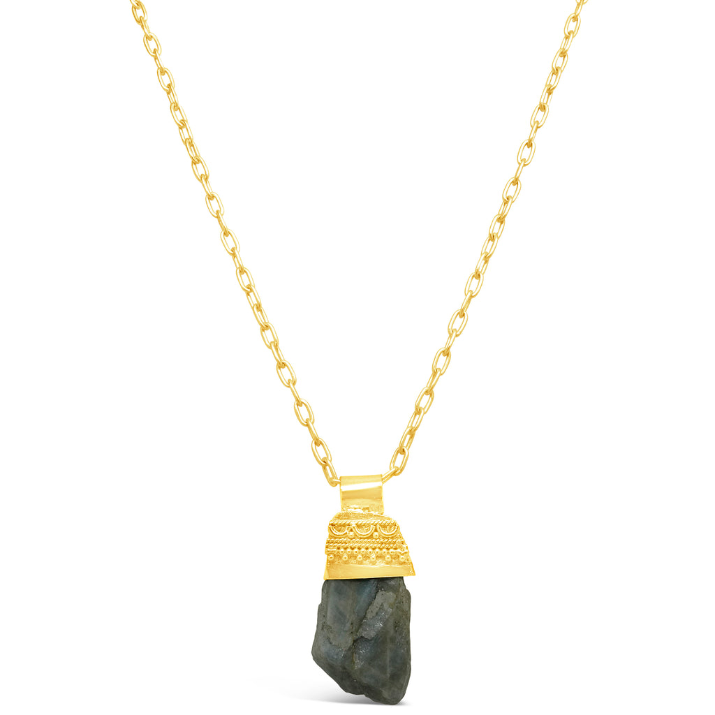 """Mesopotamia"" Raw Labradorite Pendant Necklace"