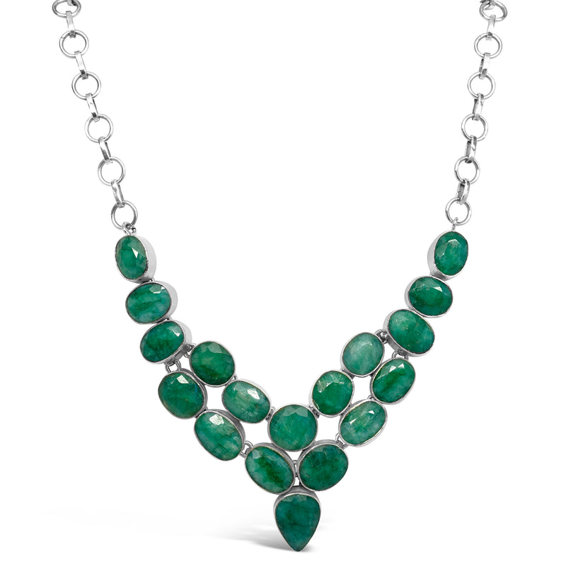 """Royal Jewels"" Emerald Bib Necklace"