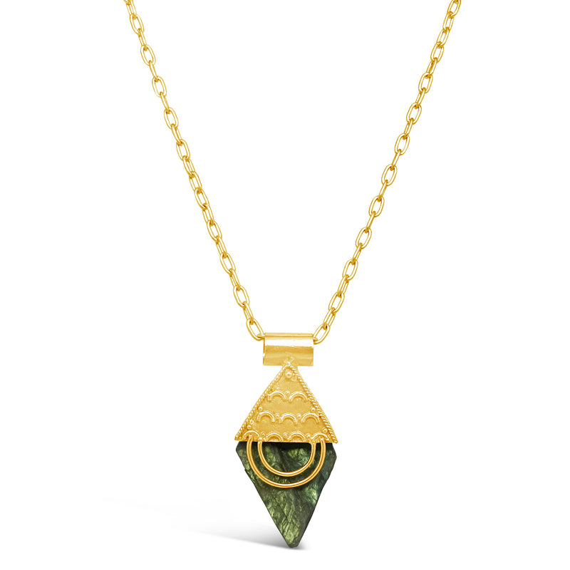 """Retro"" Triangle Dangle Gold Necklace"