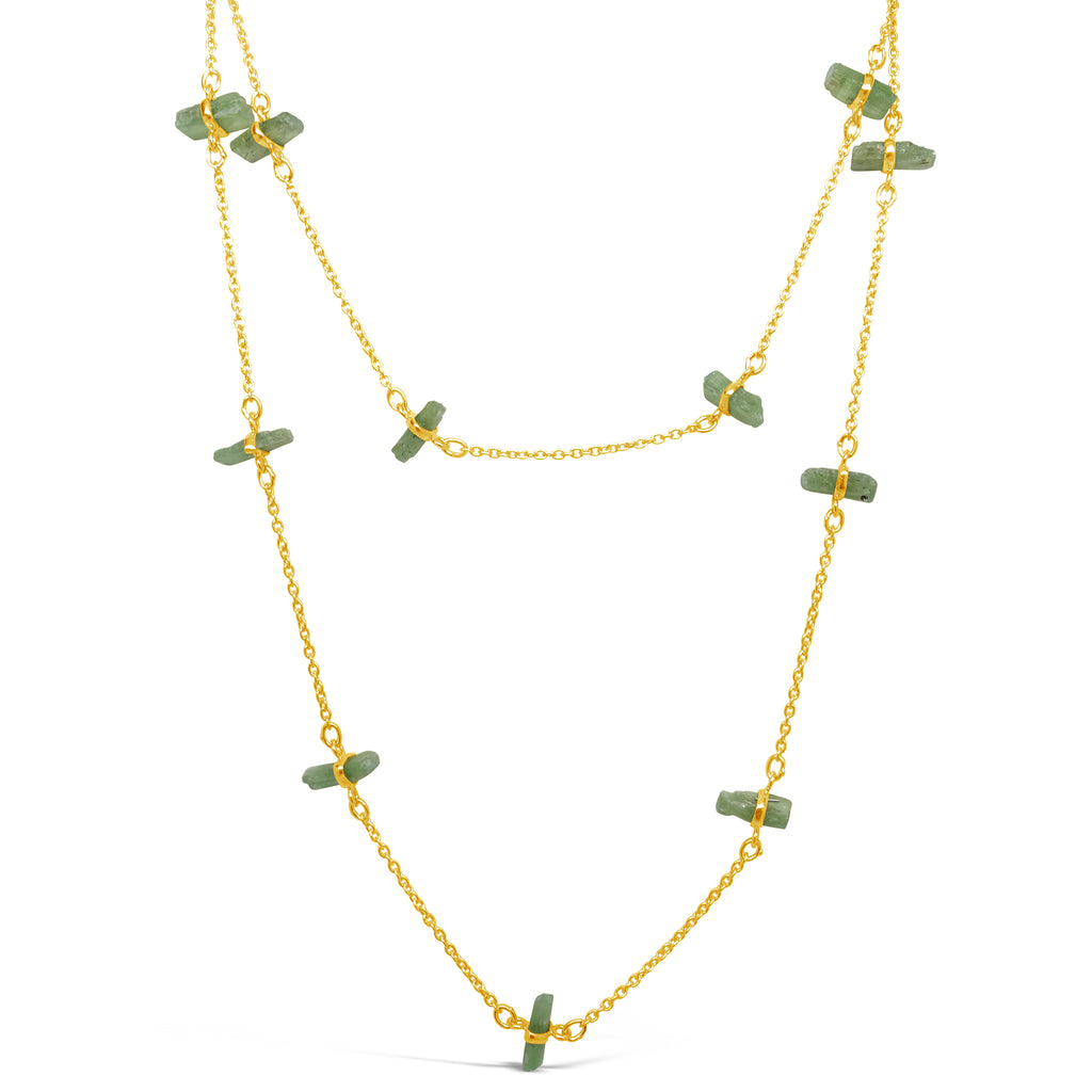 """Ivy"" Green Kyanite Long Chain Necklace"