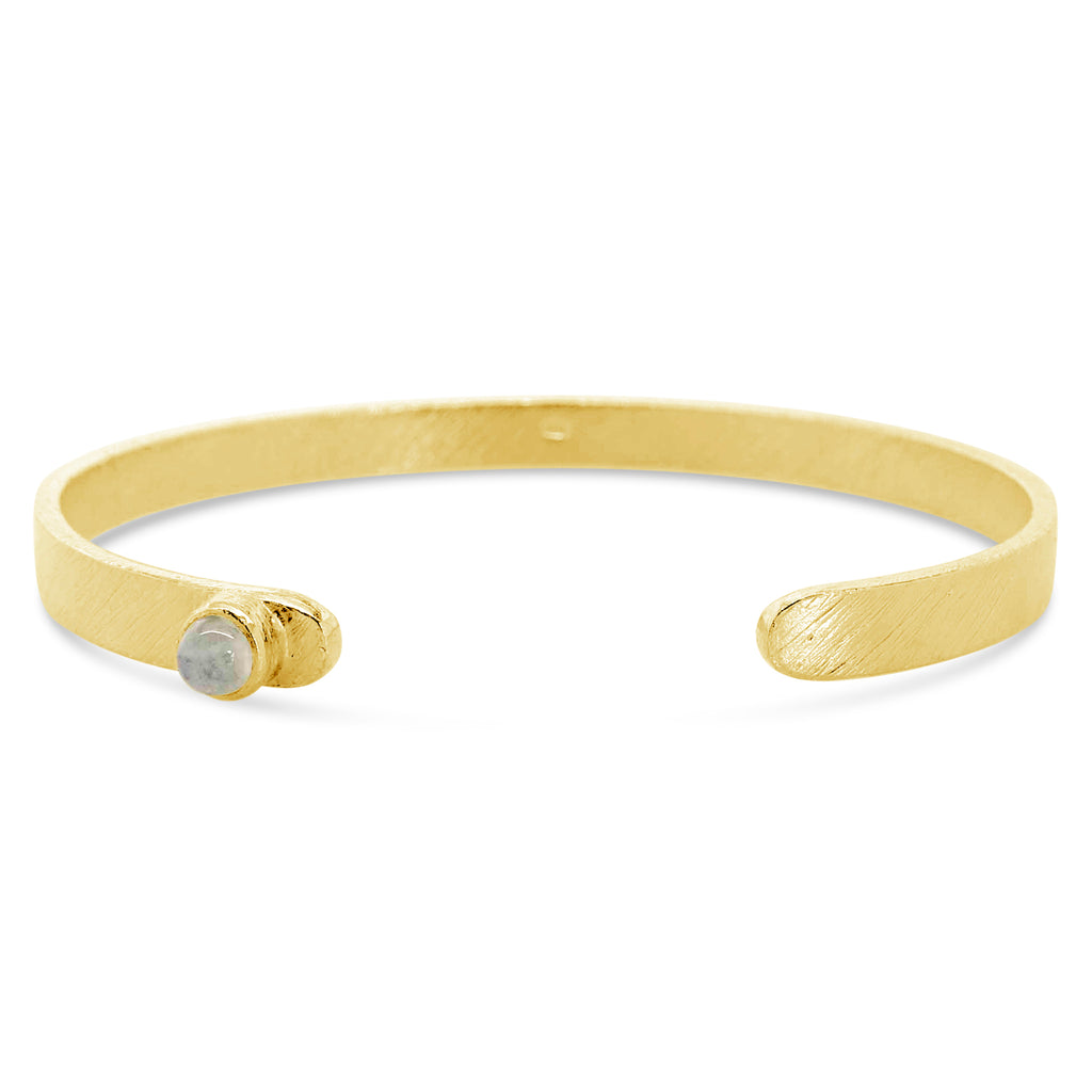 """Crescent"" Moonstone Golden Cuff Bracelet"