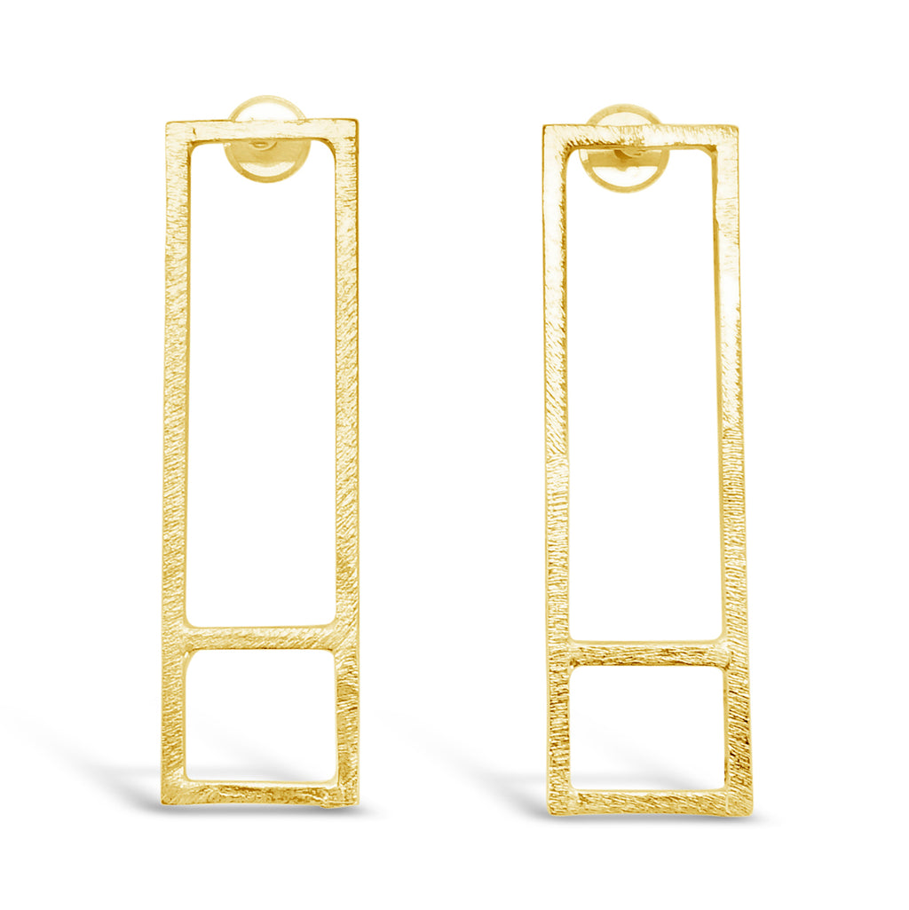 """Building Blocks"" Long Gold Studs"