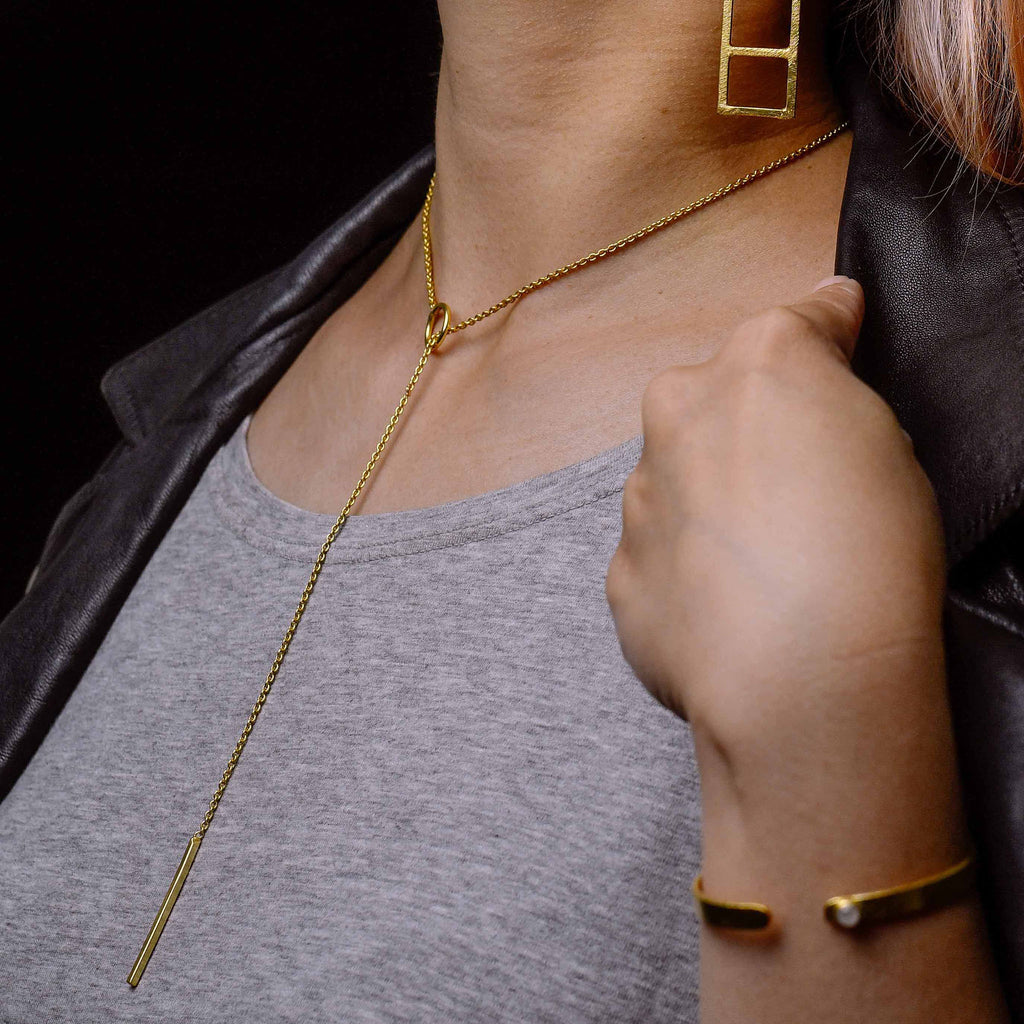 """Ease"" Golden Bar Dangle Necklace"
