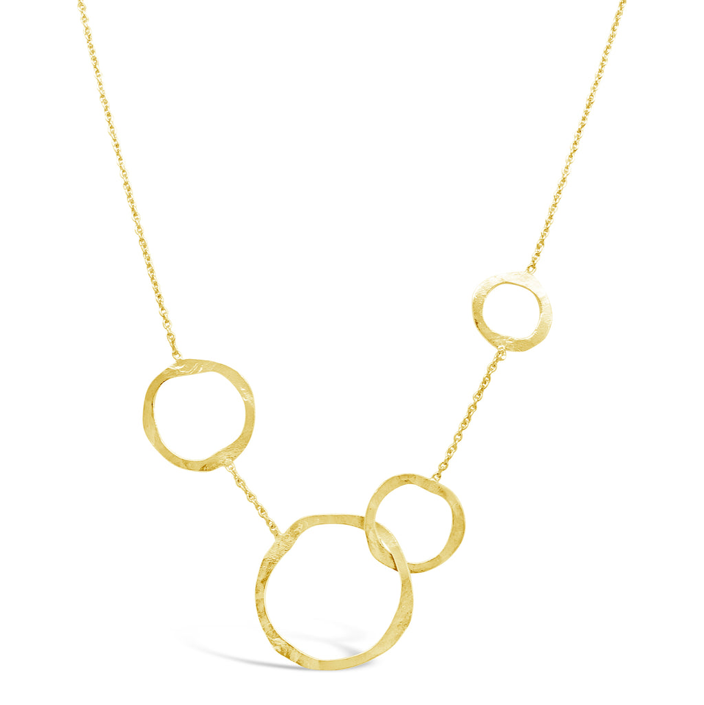 """Bubbles"" Interlocking Circles Golden Necklace"