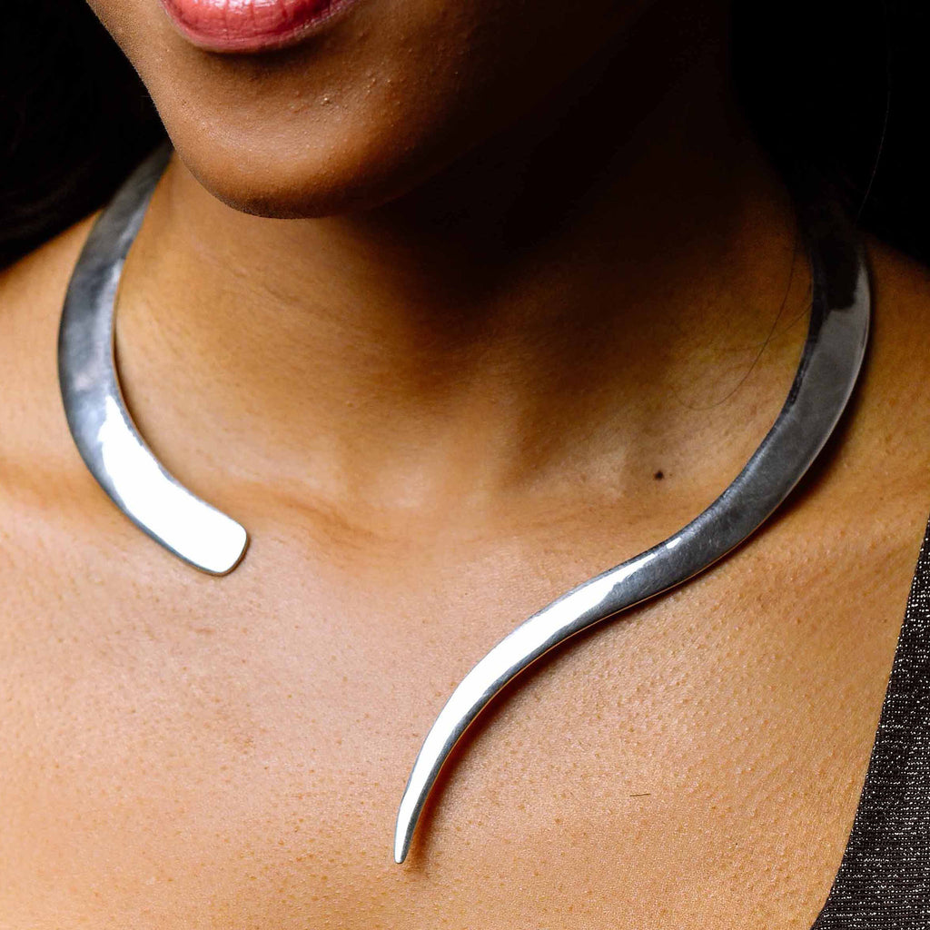 """Queen"" Solid Silver Wraparound Choker Necklace"