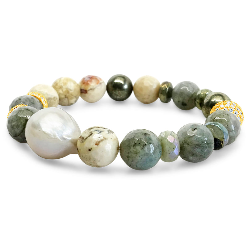 """Natural Beauty"" African Opal, Labradorite and Pyrite bracelet"